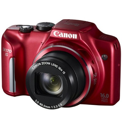 PowerShot SX170 IS 16MP Digital Camera with 16X Optical Zoom - Red