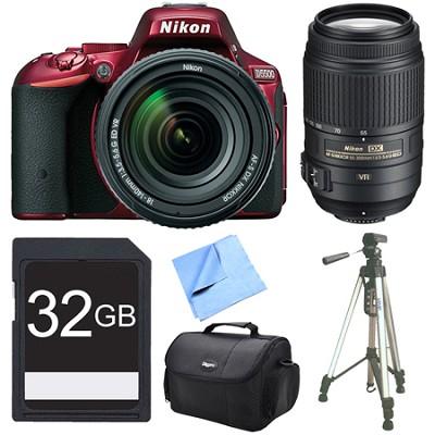 D5500 Red DSLR Camera 18-140mm Lens, 55-300 Lens, and 32GB Bundle
