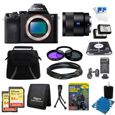 Alpha 7R a7R Digital Camera, 55mm Lens, 2 64 GB SDXC Cards, 2 Batteries Bundle