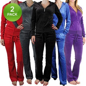 2-Pack Princess Fashion Women's Velour Tracksuit in Red/Red (Large)