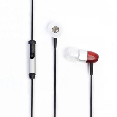 ts02+Mic 8mm Noise Isolating Wooden Headphone Silver/Cherry (ts02-mic-slvchry)