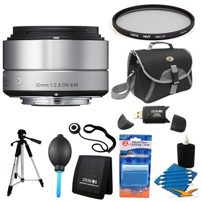 30mm F2.8 EX DN ART Silver Lens for Sony Filter Bundle