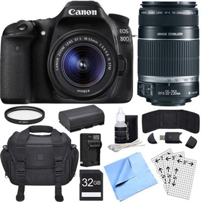 EOS 80D CMOS DSLR Camera w/ EF-S 18-55mm + 55-250mm Telephoto Lens 32GB Bundle