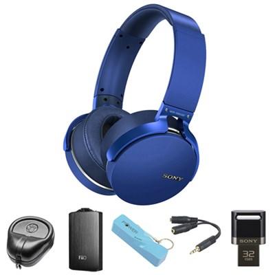Extra Bass Bluetooth Headphones (Blue) - MDRXB950BT/L w/ FiiO A3 Amp. Bundle