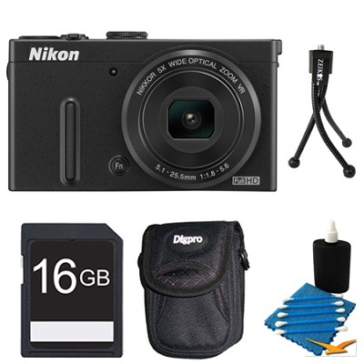 COOLPIX P330 Black Digital Camera 16GB Bundle