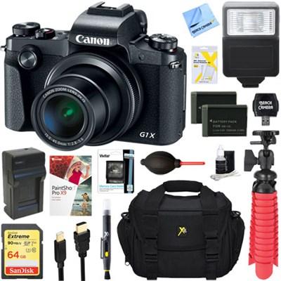 PowerShot G1 X Mark III Digital Camera (Black) + Dual Battery Accessory Bundle