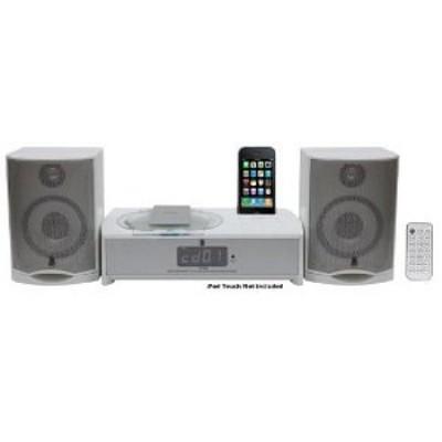 iPhone/iPod FM Radio Micro Receiver with CD Player & Alarm Clock - White
