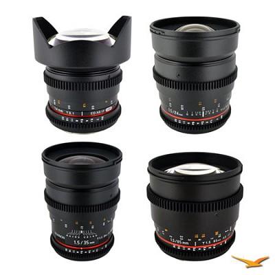 Canon EF 4 Cine Lens Kit (14mm T3.1, 24mm T1.5, 35mm T1.5, 85 mm T1.5)