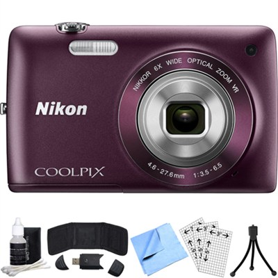 COOLPIX S4300 16MP 3-inch Touch Screen Digital Camera (Plum) Refurbished Bundle