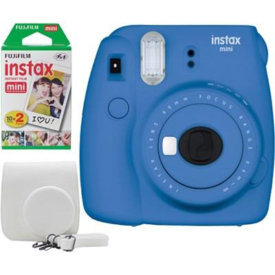 Instax Mini 9 Instant Camera Bundle w/ Case and Film - Cobalt Blue