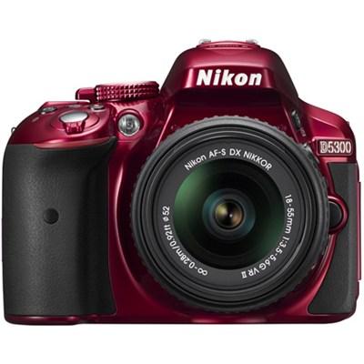D5300 DX-Format Digital SLR Kit w/ 18-55mm DX VR II Lens - Red - REFURBISHED