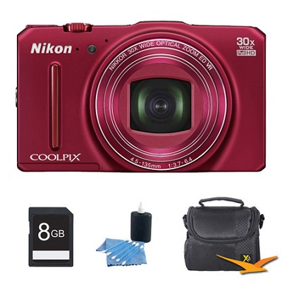 COOLPIX S9700 16MP HD 1080p 30x Opt Zoom Digital Camera Red Kit