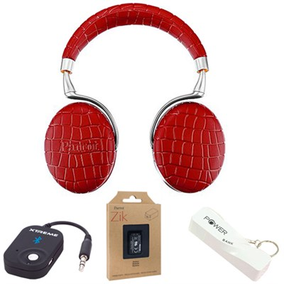 Zik 3 Wireless Noise Cancelling Bluetooth Headphones (Red Croc) Mobile Bundle