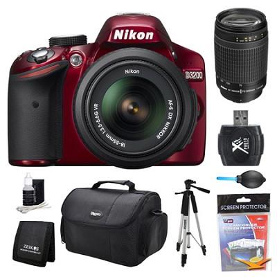 D3200 DX-Format Red Digital SLR Camera 18-55mm and 70-300mm (MANUAL FOCUS) Kit