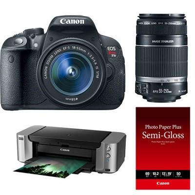 EOS Rebel T5i 18MP SLR & EF-S 18-55, 55-250 IS, PRO 100 Printer, Paper