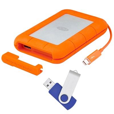 Rugged Thunderbolt USB 3.0 1TB External Hard Drive with Flash Transfer Kit