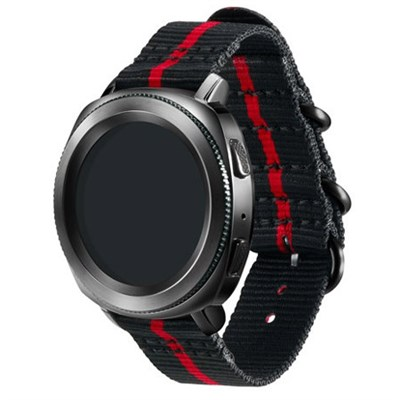 Premium Nato Strap for Gear Sport (20mm)-Black w/ Red GPR600BREECAI