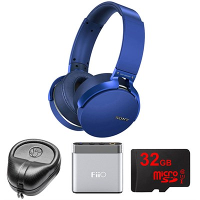 Extra Bass Bluetooth Headphones - Blue - MDRXB950BT/L w/ FiiO Amp. Bundle