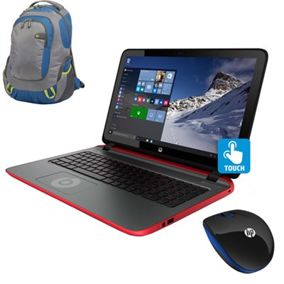 15-p390nr 15.6` Touchscreen Beats AMD Quad-Core A10-7300 Laptop w/ Backpack & Mo