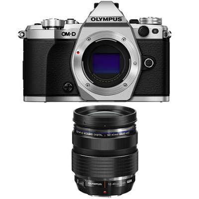 OM-D E-M5 Mark II Micro Four Thirds Silver Digital Camera 12-40mm Lens Bundle