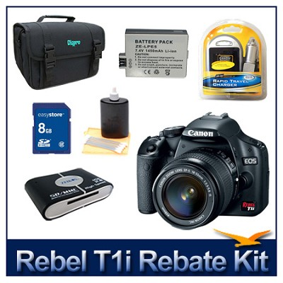 EOS Rebel T1i EF-S 18-55mm IS & 24GB Sandisk 9 Piece Accessory Kit