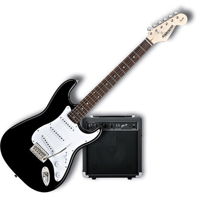 Starcaster Strat Electric Guitar Starter Pack, Black