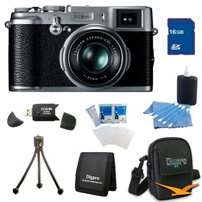 16 GB Bundle X100 12.3 MP APS-C CMOS EXR Digital Camera with 23mm Fujinon Lens