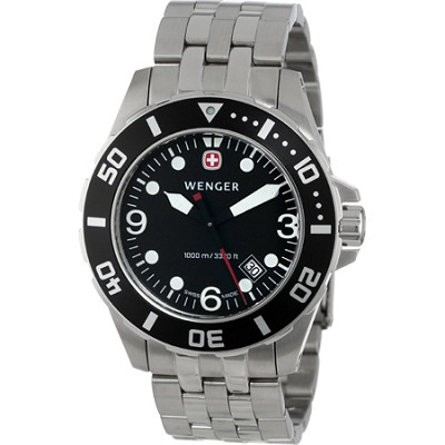 Men's AquaGraph 1000M Watch - Black Dial / Black Bezel / Steel Bracelet