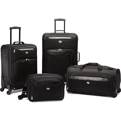 Brookfield Blk 4 Pc Luggage 21`/25` Spinners, Boarding,Wheeled Duffle - OPEN BOX