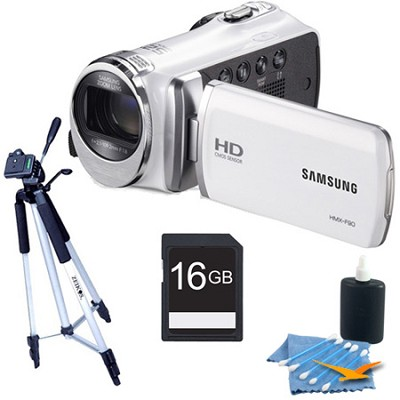HMX-F90 52X Optimal Zoom HD Camcorder White Kit