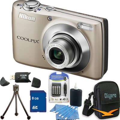 COOLPIX L24 14MP Silver Digital Camera 8GB Bundle