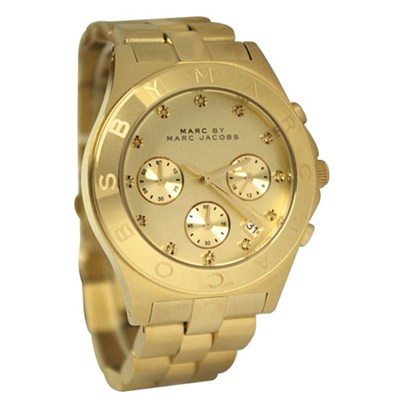 Women's Blade Gold-Tone Stainless Steel Watch with Link Bracel - MBM3101