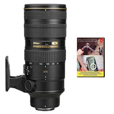 AF-S NIKKOR 70-200mm f/2.8G ED VR II Lens With Adobe Elements Bundle
