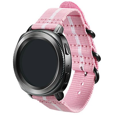 Premium Nato Strap for Gear Sport (20mm)- Pink w/ White - GPR600BREECAE