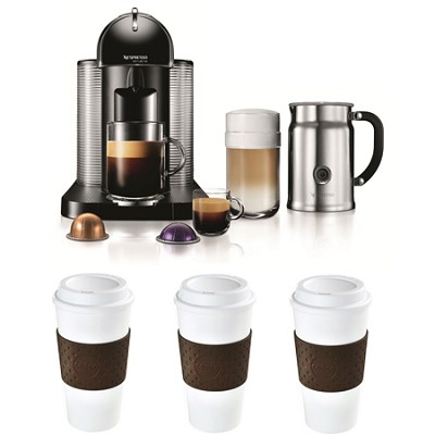 VertuoLine Coffee/Espresso Maker (Black) Reusable To Go Mug 3-Pack Bundle