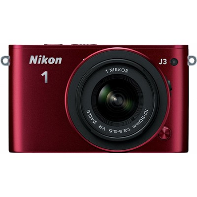 1 J3 Mirrorless 14.3MP Digital Camera w/ 10-30 VR Lens (Red) Factory Refurbished