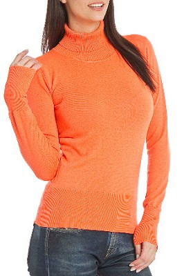 Turtleneck Sweater for Women - Color: Tangerine / Size: Med