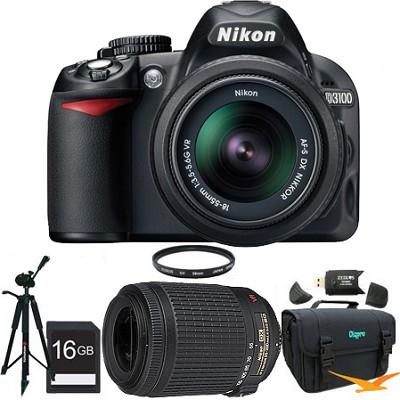 D3100 Digital SLR Kit w/ 18-55mm and 55-200mm VR Lenses Ultimate Nikon SLR Pack