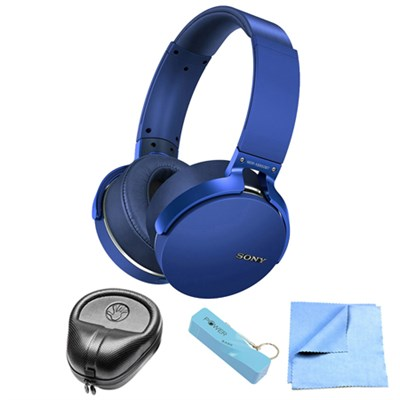 Extra Bass Bluetooth Wireless Headphones - Blue w/ Power Bank Bundle