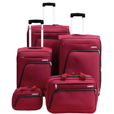 Glider 5Pc Spinner Luggage Set 28`, 24`, 20`, Boarding & Toiletry Bag - Red