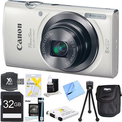 PowerShot ELPH 160 20MP 8x Opt Zoom HD Digital Camera White 32GB Ultimate Bundle