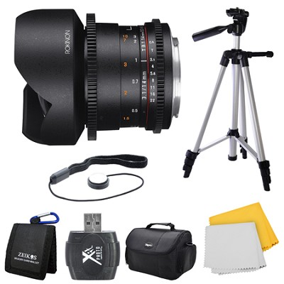 DS 14mm T3.1 Full Frame Ultra Wide Angle Cine Lens for Canon EF Mount Bundle