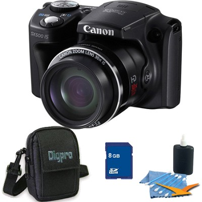Powershot SX500 IS 16MP 30x Zoom Black Digital Camera 8GB Kit