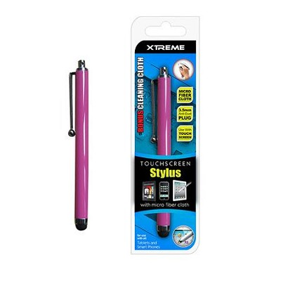 Basic Touch Screen Stylus w/ Micro Fiber Cloth Pink