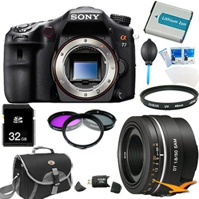 SLTA77V - a77 Digital SLR 24.3 MP Body and 50mm f1.8 Lens Bundle