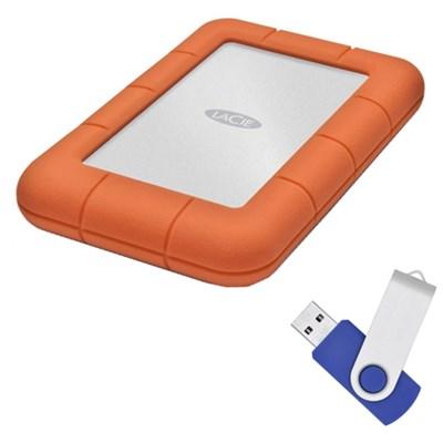 Rugged Mini USB 3.0 / USB 2.0 1TB External Hard Drive with Flash Transfer Kit