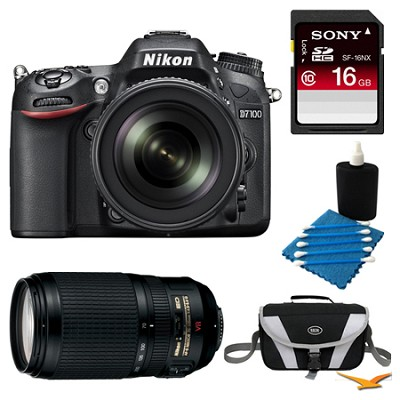 D7100 Digital HD-SLR with 18-105mm Lens 16GB and 70-300 Lens Bundle