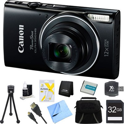 Powershot ELPH 350 HS Black Digital Camera and 32GB Card Bundle