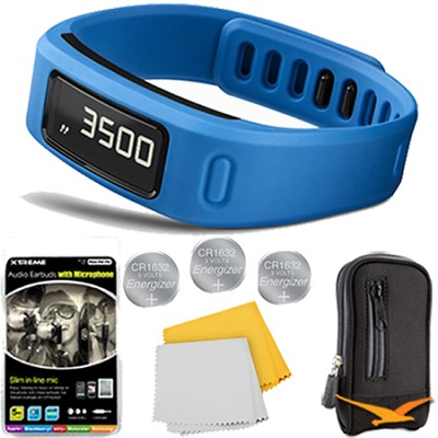 Vivofit Fitness Band Bundle with Heart Rate Monitor (Blue) Plus Deluxe Bundle
