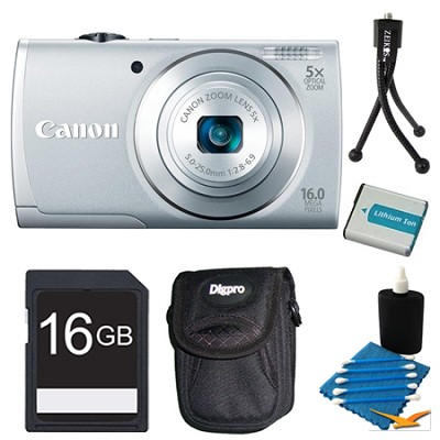 PowerShot A2600 Silver 16MP Digital Camera 16GB Bundle